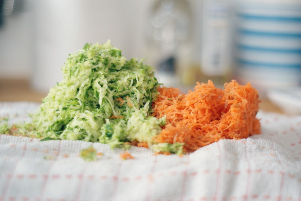 Grated courgette and carrot