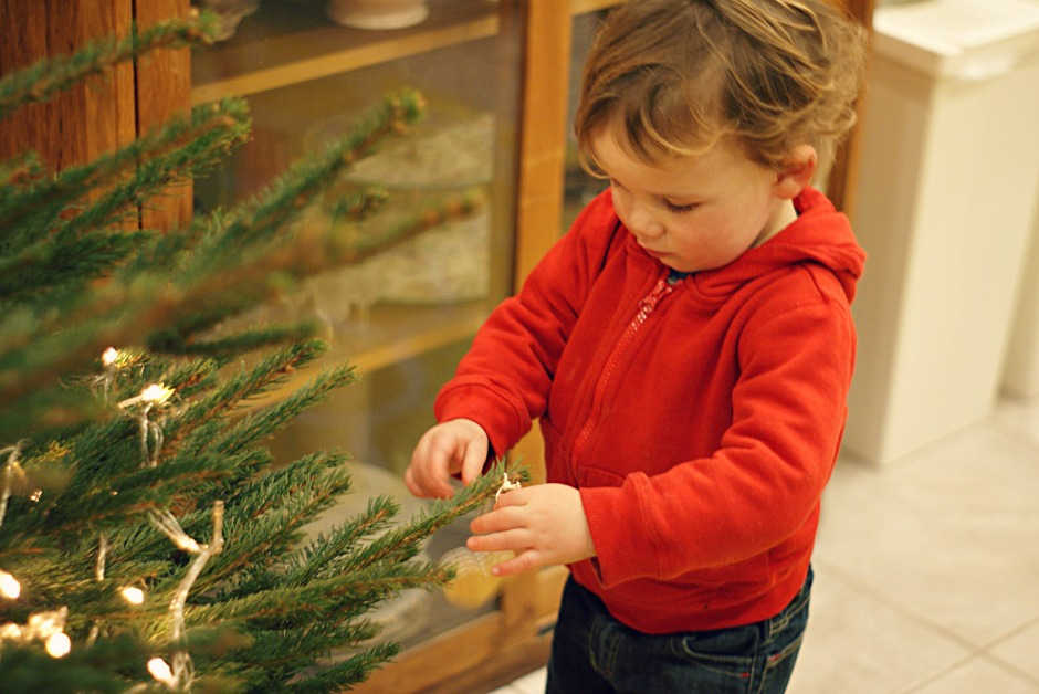 George decorating the Christmas tree