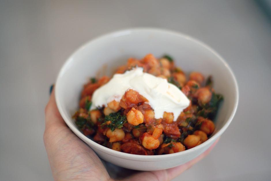 Chickpea, chorizo and kale stew